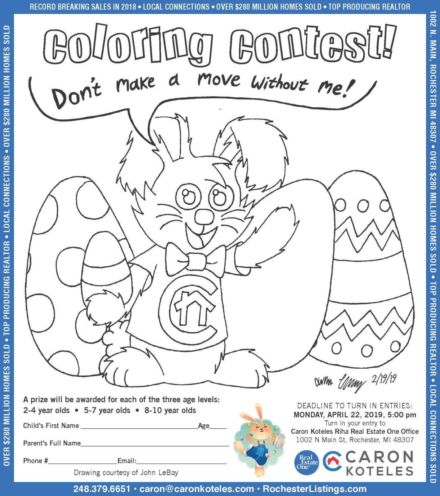 Easter Coloring Contest April 22nd - Caron Koteles Riha