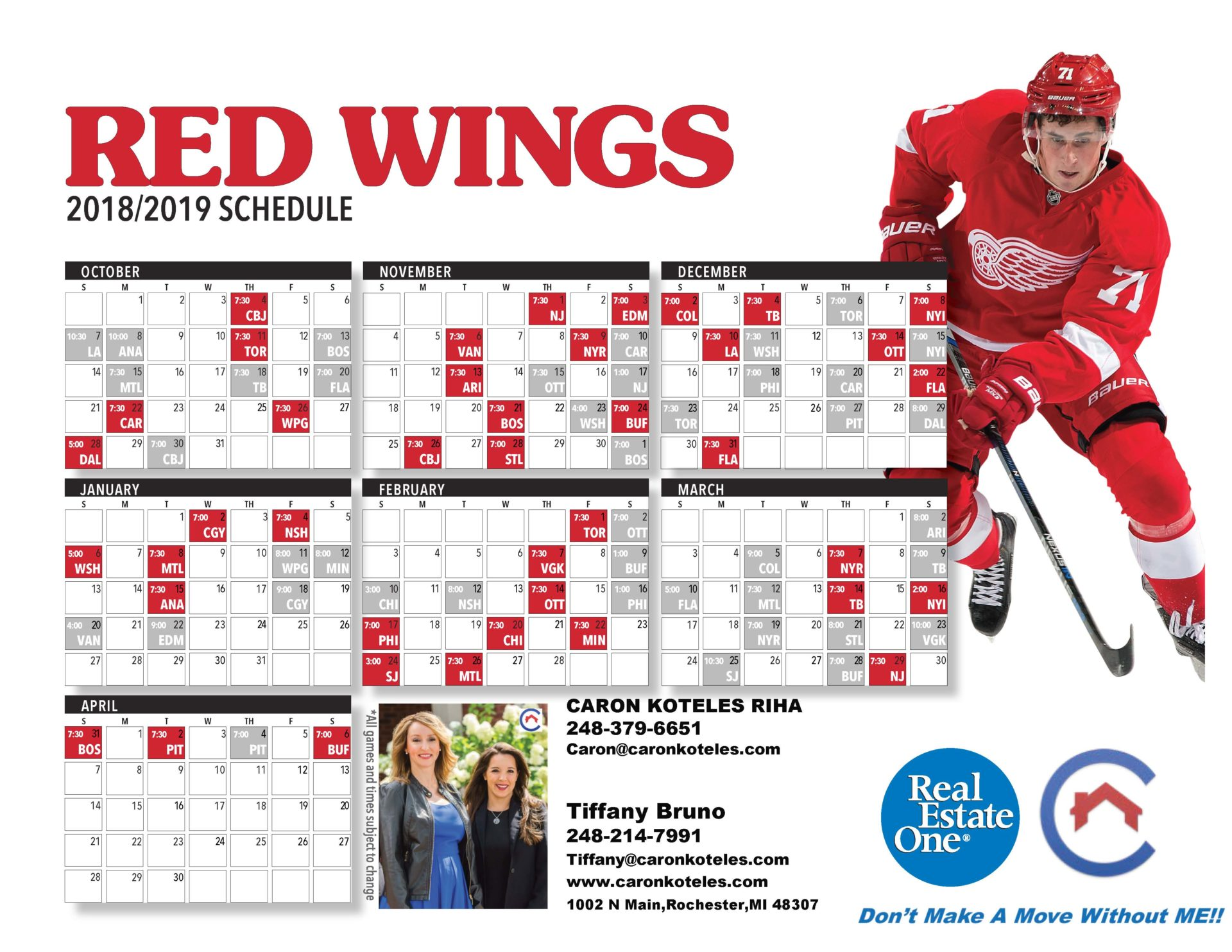 photograph regarding Printable Red Wings Schedule identified as 2018-2019 Detroit Crimson Wings Plan - Caron Koteles Riha